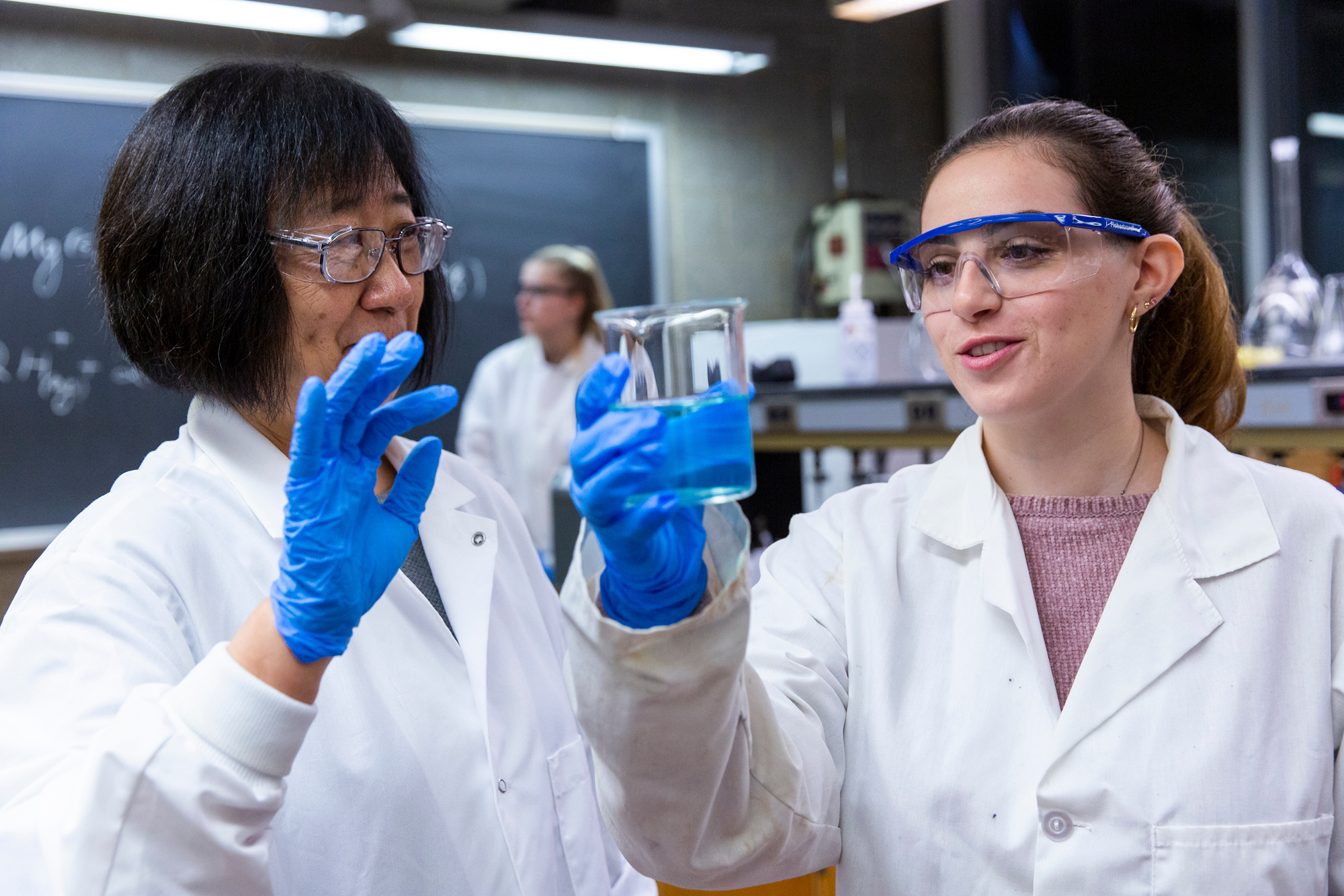 Student-faculty collaboration in science lab